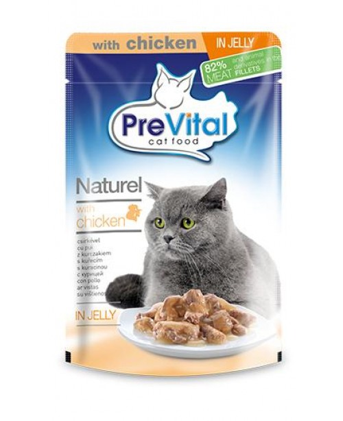 PreVital Naturel for Cats - паучи для кошек с курицей в желе 0,85 гр
