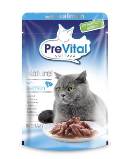 PreVital Naturel for Cats - паучи для кошек с лососем в соусе 0,85 гр
